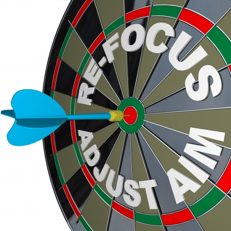 aim: A dart hits a dartboard with the words Re-Focus and Adjust Aim Stock Photo