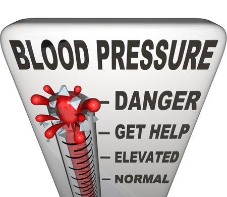 high tension: Blood Pressure words on a thermometer measuring your hypertension, with level rising past normal, elevated and danger to burst at maximum point