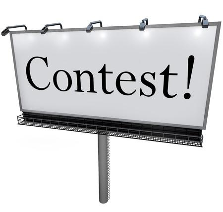 payout: El Concurso de la palabra en una enorme valla publicitaria para externo, se�al o bandera para anunciar una rifa, sorteo o loter�a que promete grandes premios, botes o de pago para el ganador