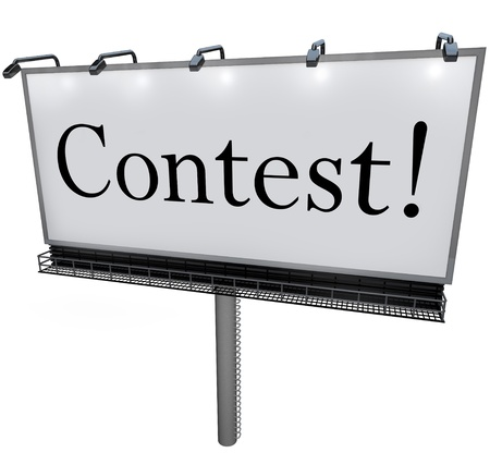 red competition: The word Contest on a huge outdoord billboard, sign or banner to advertise a raffle, drawing or lottery that promises big prizes, jackpot or payout to the winner Stock Photo