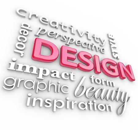 grafisch ontwerp: Het woord design en aanverwante woorden in een collage die creativiteit, schoonheid, inspiratie, stijl, perspectief en grafisch ontwerpers, elementen van een artistiek beroep Stockfoto