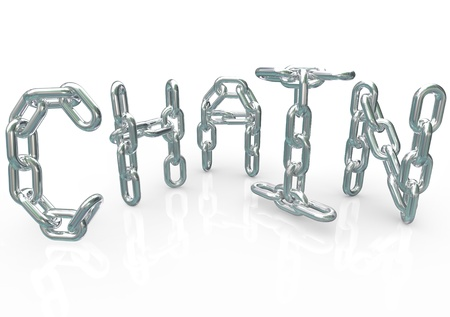 joining forces: Many chains connected together and linked to form the word Chain, symbolizing unity, teamwork, organization, team processes, procedure and synergy Stock Photo