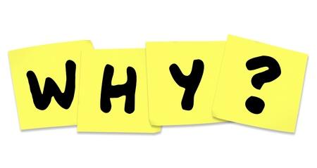 Het woord Waarom op gele post-its om hulp te vragen bij het oplossen van een mysterie en het vinden van een reden voor overweldigende stress en angst