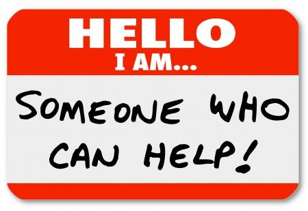 こんにちは私は誰かが助けることができる単語書かれた名札ステッカーやラベルは、あなたの問題を解決することができます他の専門家、医師やコ 写真素材