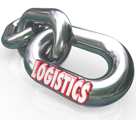 networked: The word Logistics on a metal chain link connected to other chains and links to form an organized and coordinated system of working together Stock Photo