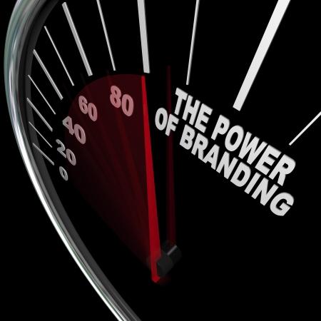 veloc�metro: El poder de la marca medido por un veloc�metro Foto de archivo