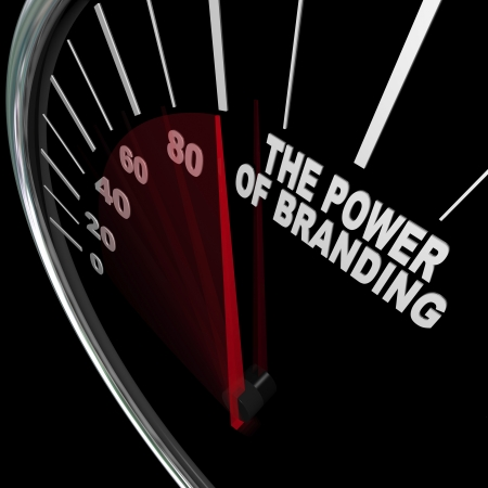 The power of branding measured by a speedometer Stock Photo - 14556104