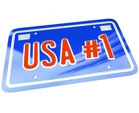 A vanity license plate in red white and blue with the letters and words USA Number One with number 1 photo
