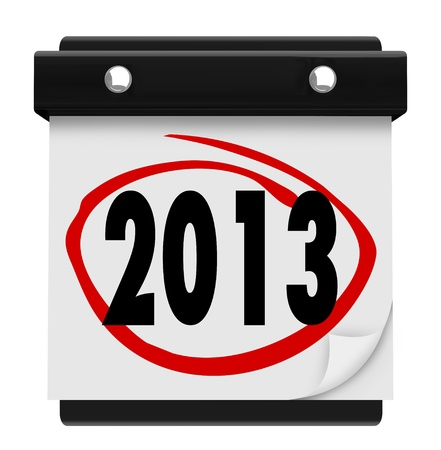 calendar page: The year 2013 on a page on a wall calendar to mark New Years Day Stock Photo