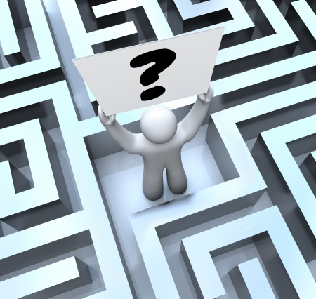 A man lost in a maze or labyrinth holds a question mark sign