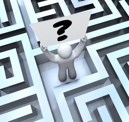 doolhof: Een man verloren in een doolhof of labyrint heeft een vraagteken teken Stockfoto