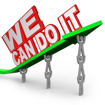 The words We Can Do It lifted on an arrow Stock Photo - 14556114