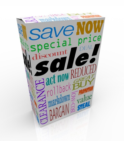 reduced value: The word sale on a product box, merchandise or package to symbolize savings, discounts, clearance, special price, low cost, value, reduction or other event at store for saving money
