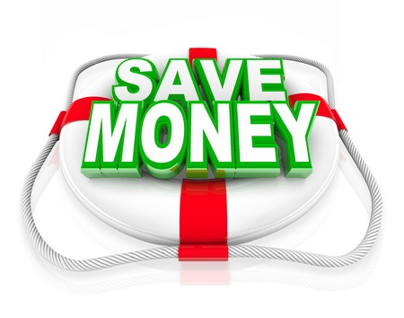 rescuing: A white life preserver with the words Save Money on it, symbolizing a budget rescue in the form of money saving offers or deals at a store sale or clearance event