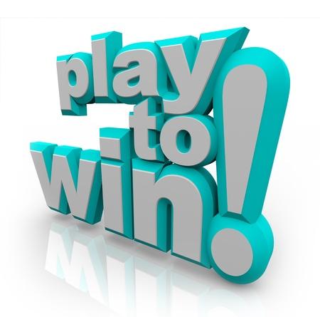 Słowa grać, aby wygrać w 3D napis