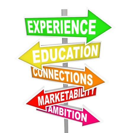 検索 - 経験、教育、接続、市場性および野心 - 新しいジョブ昇進やキャリアの成功のための位置する必要がありますいくつかの原則と必要な資質 写真素材 - 14607622