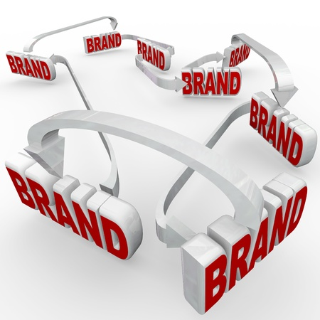 The word brand repeated many times and reinforced by many repeated usages of marketing and advertising, strengthening awareness, loyalty and identity Stock Photo - 14692375