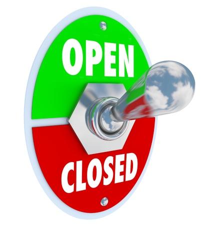 uaktywnić: Metalowy przełącznik z płyty czytania otwarte i zamknięte, co pozwala na przerzucanie dźwigni do otwarcia do sklepu lub innego rodzaju działalności gospodarczej