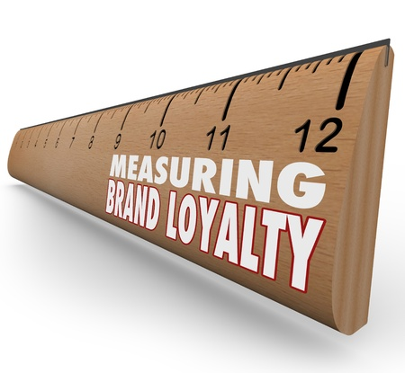 Measure Your Brand Loyalty ruler to evaluate the strength of your branding efforts through marketing, advertising and excellent customer service Stock Photo - 14692381