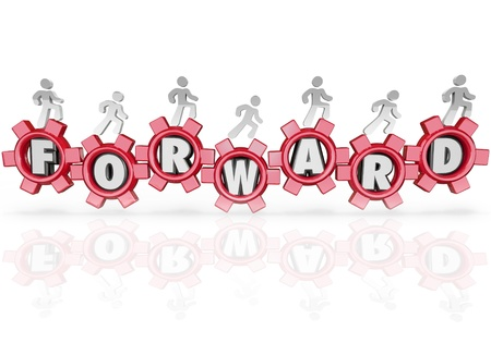 A team of people walking on gears featuring letters from the word Forward, marching to the future to achieve growth and success