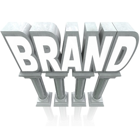 authority: The word Brand standing high on marble columns, elevated as the top product or company compared to others in a marketplace, with great reputation, awareness, identity and loyalty