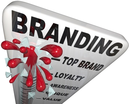 preference: The word Branding on a thermometer measuring your brand loyalty, identity, reputation, credibility, awareness, perception and overall success in your market Stock Photo