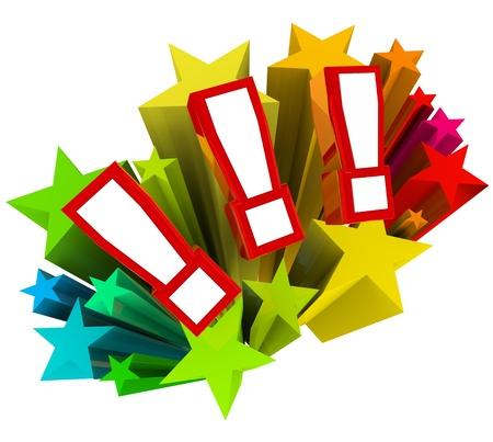 exclamacion: Tres signos de exclamación o marcas en una explosión colorida de las estrellas como símbolo de sorpresa, emoción y diversión