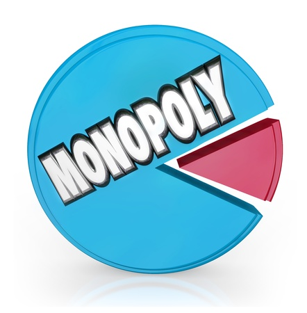 monopoly money: A pie chart with large chunk with the word Monopoly showing unfair competition by a market leader shutting out other competitors Stock Photo