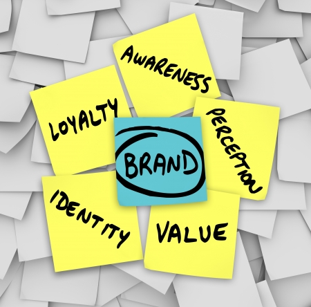 brand: The principicles of brand and branding written on sticky notes - value, identity, loyalty, awareness and perception
