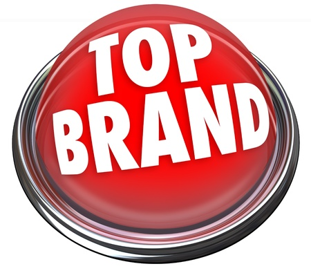 A red button or flashing light with the words Top Brand to indicate something is the best company or product to buyamong many choices photo