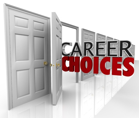 careers: The words Career Choices coming out of an open door to represent opportunities and options in choosing your job path in your professional life Stock Photo