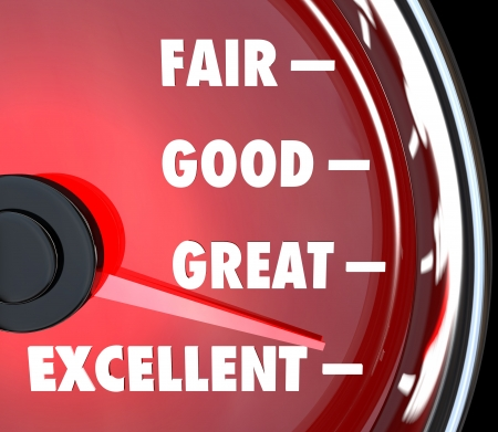 evaluate: A red speedometer with needle rising past words Fair, Good, Great and Excellent to symbolize improvement and success Stock Photo