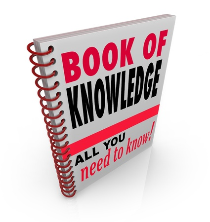 spiral binding: The Book of Knowledge textbook giving insights, expertise, skills, intelligence, education and lesson for building smarts and growing abilities Stock Photo