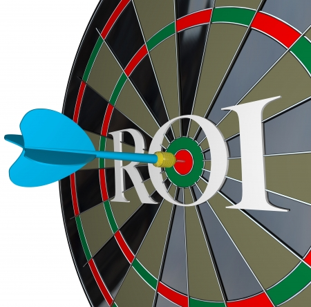 The letters ROI on a dartboard symbolizing return on investment and the profits and gains you can get from investing in stocks or saving your money with interest photo