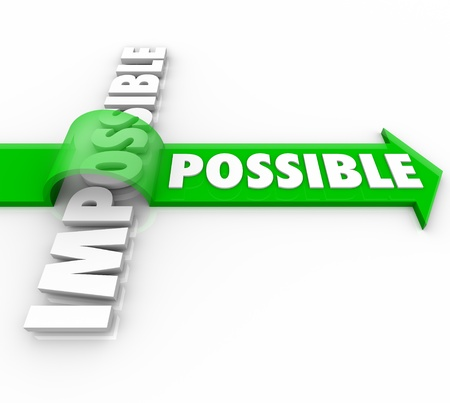 persistence: A green arrow with the word Possible jumps over the word Impossible to show the power of a positive attitude to reach a goal and achieve success in life, work or personal endeavors Stock Photo