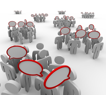 separate: Several groups of people having different conversations with speech bubbles representing talking, sharing information and communication Stock Photo