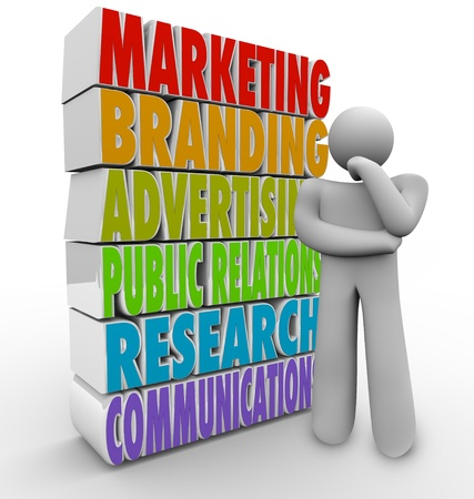 marketing research: A man thinks of a marketing plan beside the words that represent elements of a communications strategy - advertising, research, branding, public relations and promotions Stock Photo