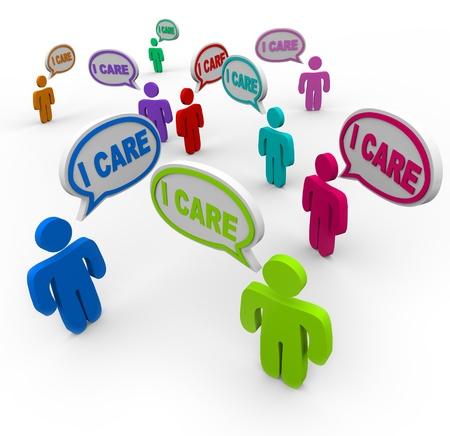 De woorden I Care gesproken door velen zorgzame mensen die supporters, vrienden en familie uiten sympathie en empathie, zorg en zorg