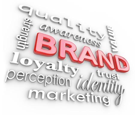 Het woord Brand en de bijbehorende termen en uitdrukkingen als kwaliteit, loyaliteit, bewustzijn, kracht, perceptie, waarde, vertrouwen, identiteit en marketing Stockfoto