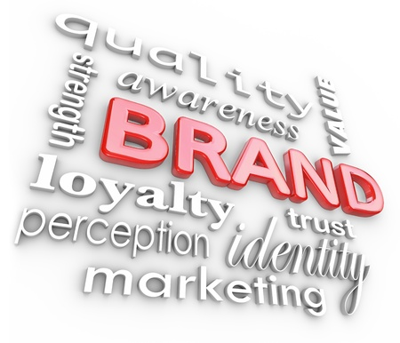 brand: The word Brand and associated terms and phrases such as quality, loyalty, awareness, strength, perception, value, trust, identity and marketing Stock Photo