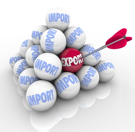 import trade: A pyramid of balls with the word Import on most of them and one marked Export and an arrow in it, symbolizing a trade imbalance and the need to focus more on exporting and less on importing goods