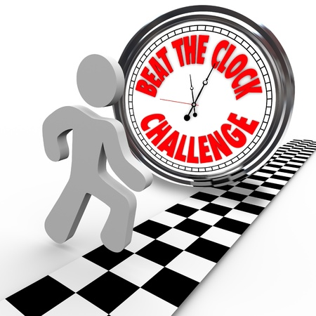 Compete in the Beat the Clock Challenge with a runner or competitor crossing the finish line to win and succeed in beating the timer with the best time Stock Photo - 14955479