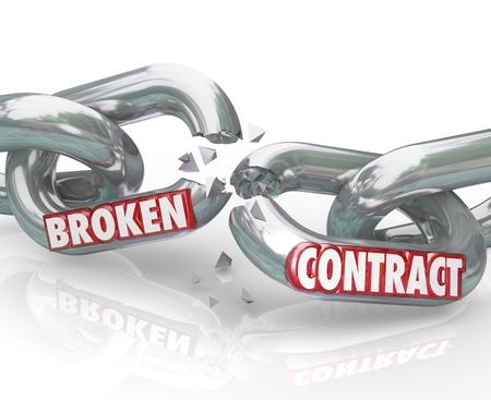 Las palabras Broken Contrato en eslabones de la cadena separando para simbolizar el final o la rotura de un compromiso, acuerdo, obligación acuerdo, tratado o de otro tipo entre dos partes