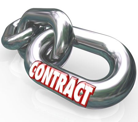 freed: The word Contract on a metal chain link connected to other chains and links to symbolize an agreement,  legally binding promise or guarantee between two parties Stock Photo