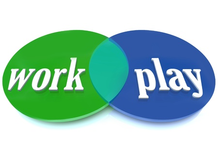 equal opportunity: A Venn diagram of overlapping circles with the words Work and Play to symbolize balancing your life with your career and activities you enjoy and find fun