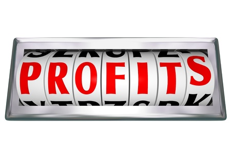 earn fast money: The word Profits on an odometer wheel to represent growing revenue and making more money with more sales and successful earnings