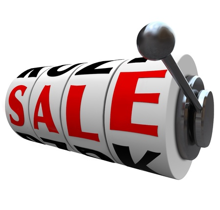 opportunity: The word Sale spelled out on wheels of a slot machine, representing a discount opportunity or clearance event where you can save money Stock Photo
