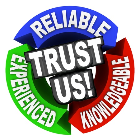 trustworthy: The words Trust Us surrounded by arrows in a cirle diagram pattern each with a word - reliable, experienced, knowledgeable