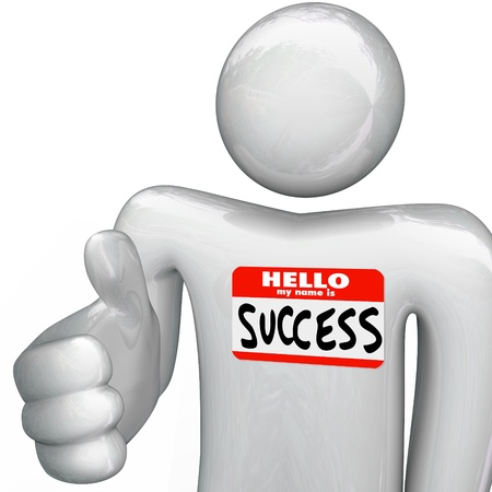 A person holds out his hand for a handshake, greeting you with a nametag reading Hello My Name is Success photo