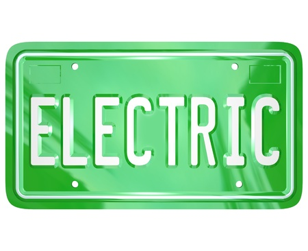 petrol powered: The word Electric on a green metal license plate for a car, automobile or other vehicle that uses alternative fuel or energy to save the environment through reduction of carbon gas emissions